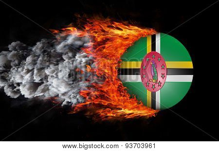 Flag With A Trail Of Fire And Smoke - Dominica
