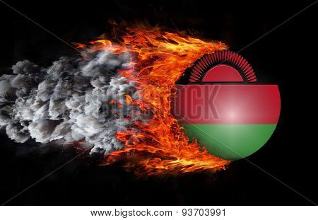Flag With A Trail Of Fire And Smoke - Malawi