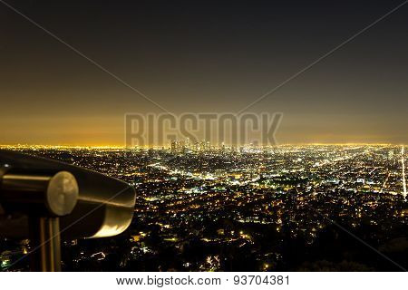Los Angeles Skyline At Night From Griffith Observatory