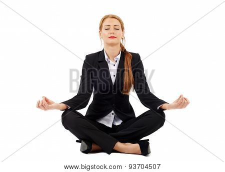 Young Businesswoman Practicing Yoga