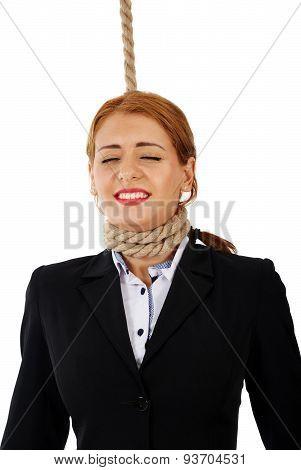 Businesswoman With Noose Around Her Neck