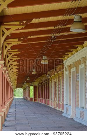 Old Vintage Style Railway Station Platform In Haapsalu, Estonia