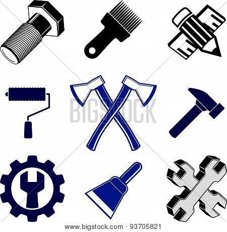 Work tools collection, repair instruments for carpentry and manufacturing.