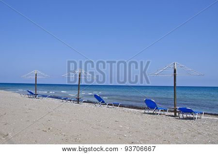 Beautiful Empty Aegean Sea Beach In Rhodes Island, Greece