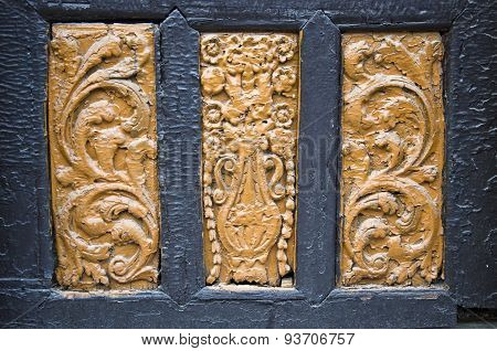 Ancient Wood Carving On Door Background