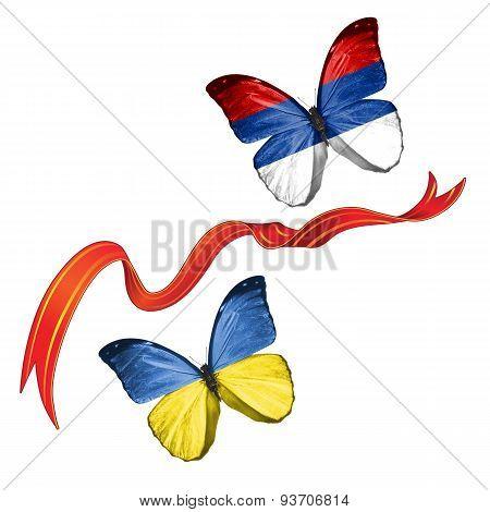 Two butterflies with symbols of Ukraine and Republika Srpska