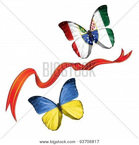 Two butterflies with symbols of Ukraine and Federation of Bosnia and Herzegovina