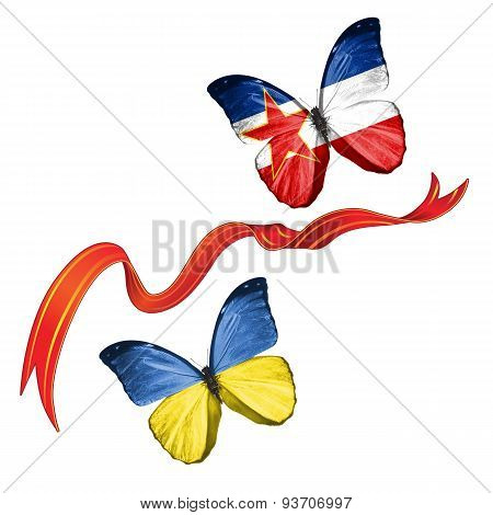 Two butterflies with symbols of Ukraine and Socialist Federal Republic of Yugoslavia