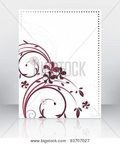 Abstract flyer or cover design with floral pattern. Vector illustration.