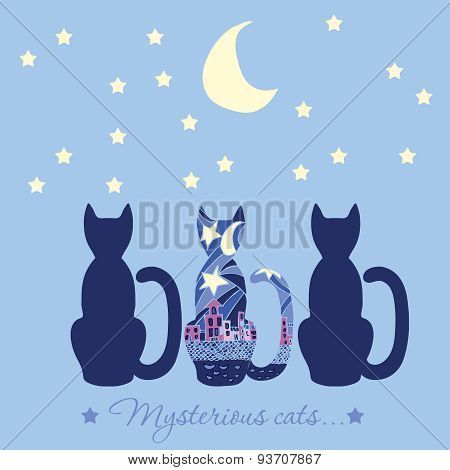 Illustration With Three Cats. Caption Mysterious Cat. Cats Who Are Looking Into The Night Sky The Mo