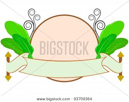 banana leaf with thai style label isolated on white background