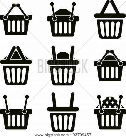 Shopping basket icons isolated on white background vector set, supermarket shopping symbol