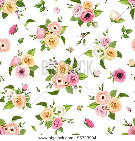 Seamless pattern with pink, orange and white roses, lisianthuses, anemones and ranunculus flowers. V