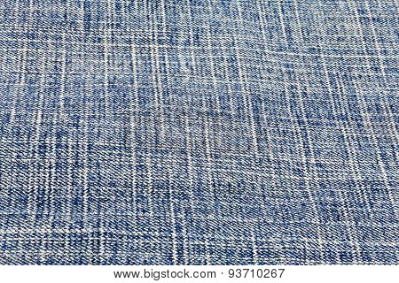Closeup detail of blue jeans fabric background
