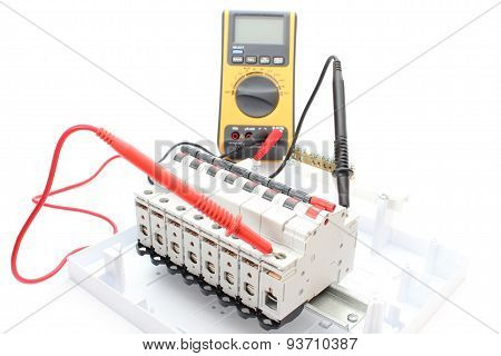 Electric Switch On The Control Panel And Multimeter