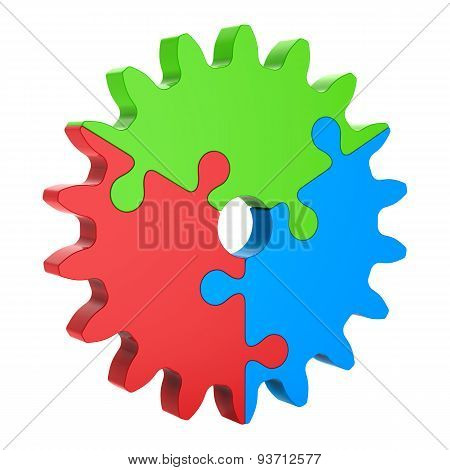 3d Red Green Blue Puzzle Gear, Isolated on White