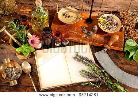 The natural medicine, herbal, medicines and old book with copy space for your text