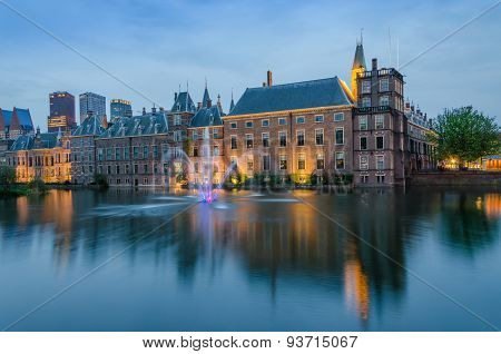 Binnenhof Palace, Place Of Parliament At Dusk