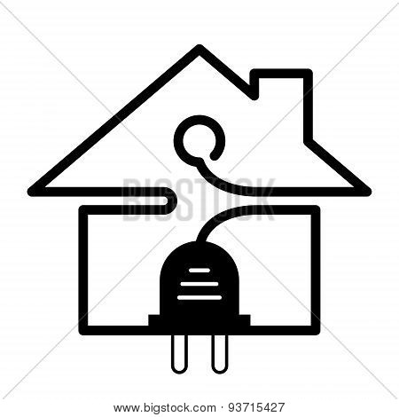 Plug And Wire In Shape Of House Symbol