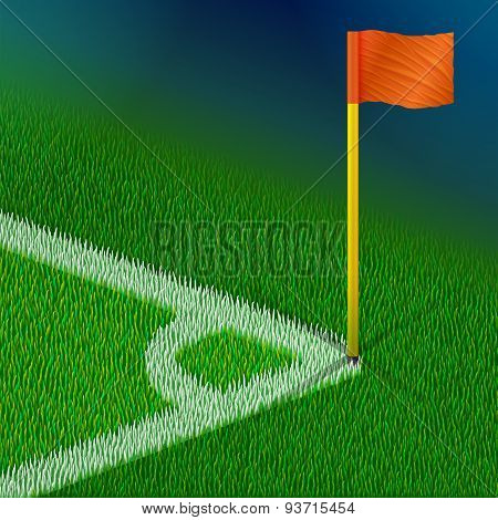 Corner Of Soccer Pitch With Flag