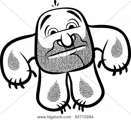 Funny cartoon monster with stubble, black and white lines vector illustration.