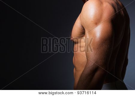 Muscular and fit torso of young sporty man showing his perfect triceps muscles
