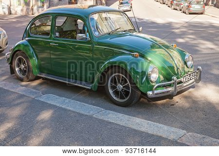 Green Early 1966 Volkswagen Beetle Car