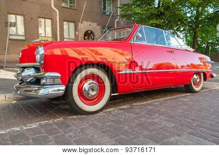 Old Red Ford Custom Deluxe Tudor Car