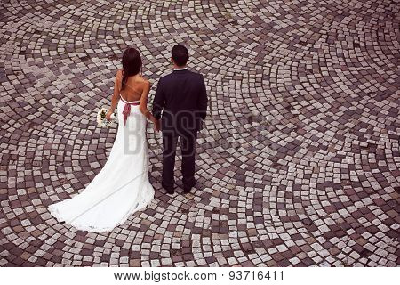 Bride And Groom On Pavement
