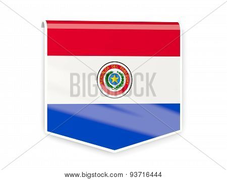 Flag Label Of Paraguay
