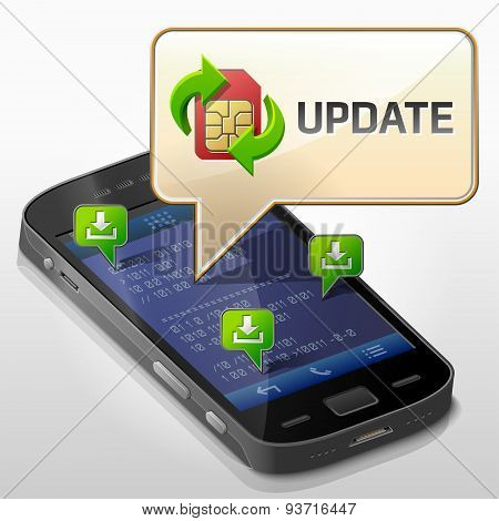 Smartphone With Message Bubble About Update