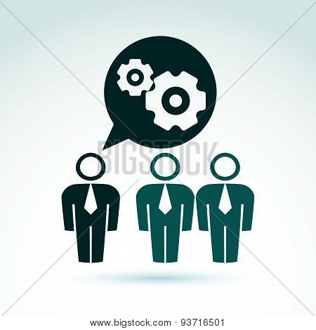 Vector illustration of gears, enterprise system theme, organization strategy concept. Cog-wheels
