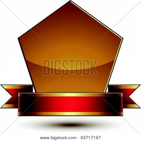 Heraldic vector template with golden outline, 3d royal conceptual escutcheon with red ribbon