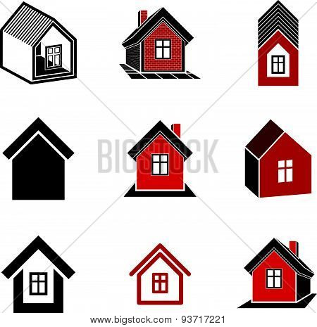 Different houses icons for use in graphic design, set of mansion conceptual symbols, abstract
