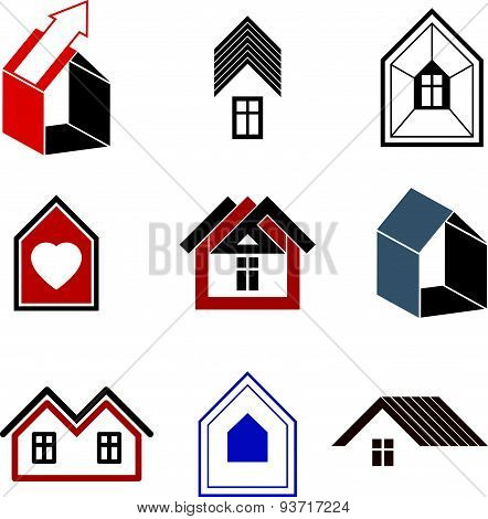 Houses abstract icons, for use in advertising, real estate business and construction. Set