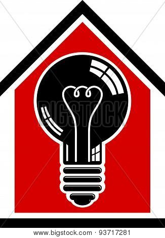 Construction idea, save electricity at home. 3d light bulb and house, electrical energy theme.