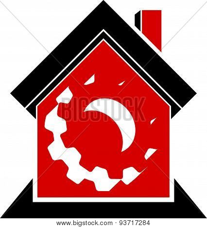 Manufactory conceptual symbol, house with 3d cog wheel. Industry and production theme element