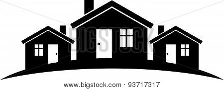 Abstract houses with horizon line. Can be used in advertising and as corporate symbol. Real estate
