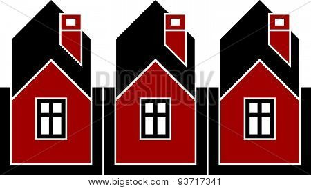 Simple cottages illustration, country houses, for use in graphic design. Real estate concept