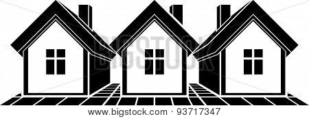 Monochrome cottages illustration, black and white country houses, for use in graphic design.