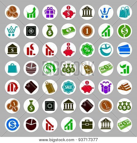 Money icons vector set, finance theme simplistic symbols vector collections.