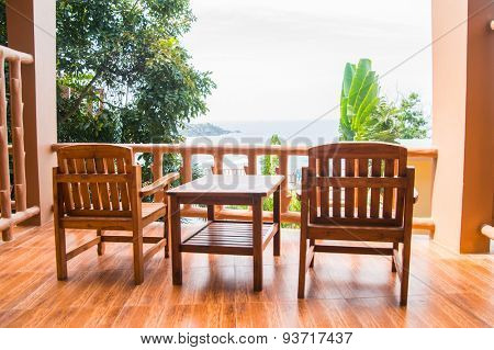 Two chair on the balcony. Spectacular view. Haad Yao, Phangan, Thailand.
