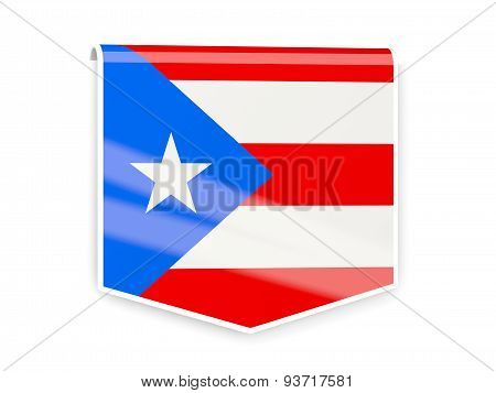 Flag Label Of Puerto Rico