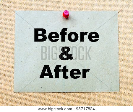 Before And After  Written On Paper Note