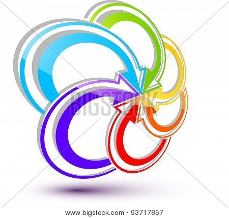 Infinite loop arrows vector abstract symbol, graphic design template 3d pictogram.