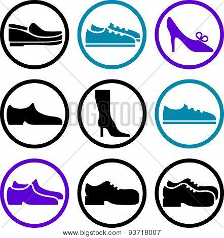 Footwear icon vector set, vector collection of shoes pictograms.