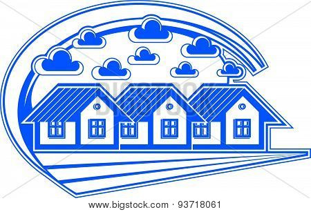 Houses detailed illustration, village idea. Graphic country houses image, countryside building