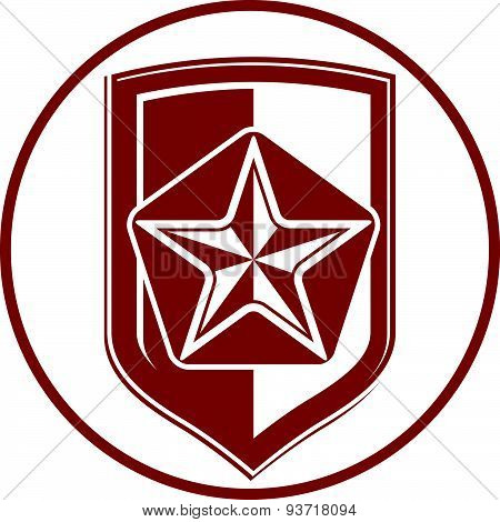 Military shield with pentagonal comet star, protection heraldic sheriff blazon. Army symbol