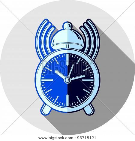 Wake up idea illustration. Classic three-dimensional alarm-clock isolated on white. Table clock