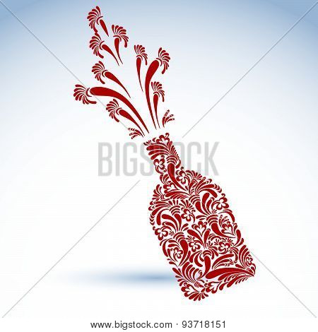 Celebration theme art symbol, stylish alcohol bottle with flowery pattern and bright splash. Holiday
